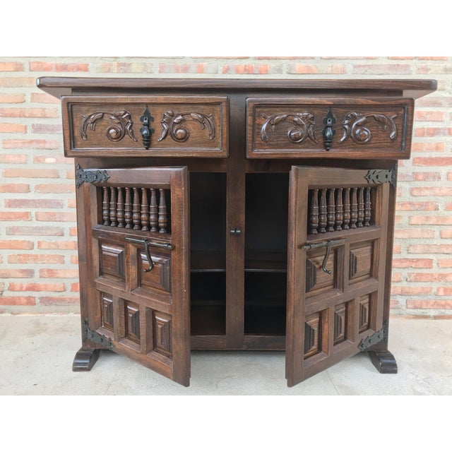 20th Century Spanish Carved Dark Walnut Tuscan Two Drawers Credenza or Buffet For Sale - Image 4 of 13