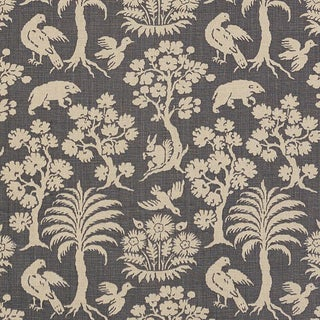 Schumacher Woodland Silhouette Fabric in Steel For Sale