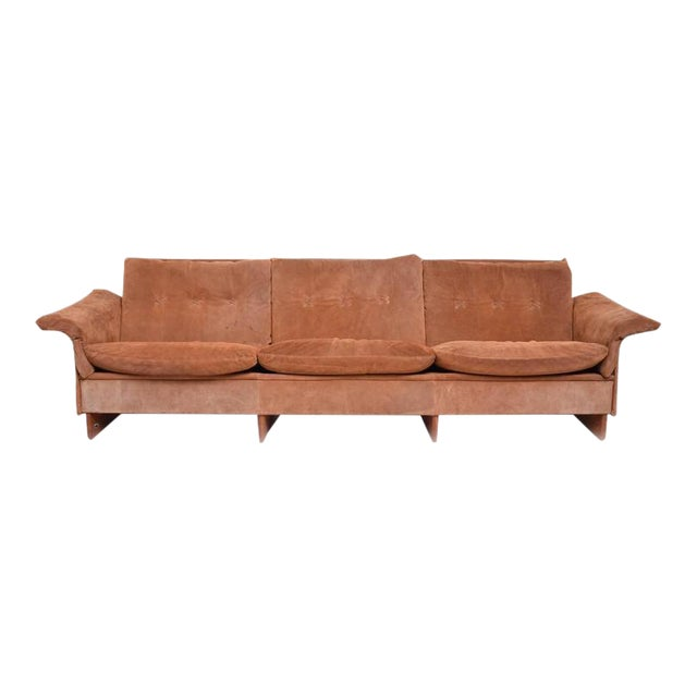 Danish Modern Suede & Teak Sofa For Sale
