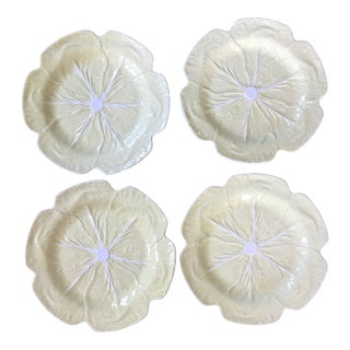 Bordallo Pinheiro Yellow Cabbage Charger Plates - Set of 4 For Sale