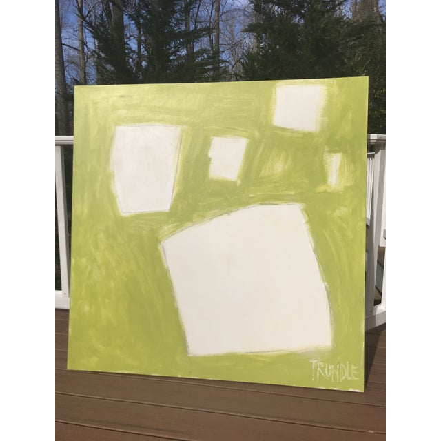 """2010s Sarah Trundle """"Let Me Count the Ways: Shapes in Chartreuse"""" Original Abstract Painting For Sale - Image 5 of 7"""