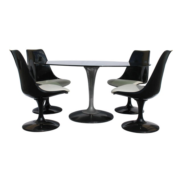 1960s Knoll-Style Black Dining Set For Sale