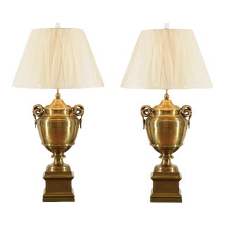 Exquisite Pair of Brass Urn Lamps in the Style of Maison Jansen For Sale