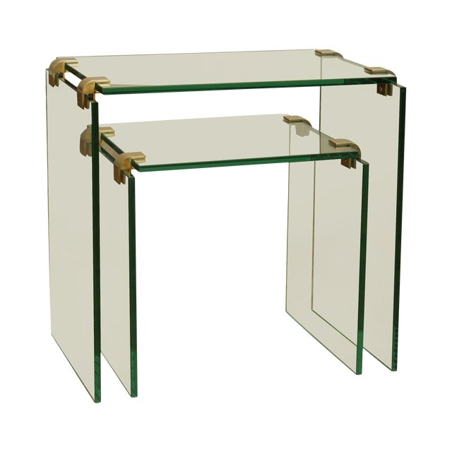 Mid Century Modern Floating Glass & Brass Set 2 Nesting Tables For Sale