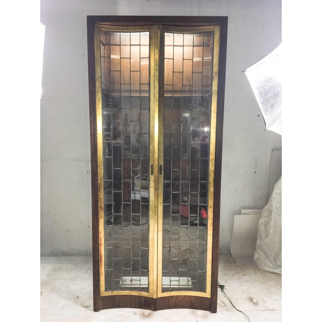 Heritage Mid-Century Modern Brass & Lead Glass Cabinet - Image 2 of 6