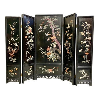 Antique Japanese 5-Panel Wood Screen Semi Precious Stones For Sale