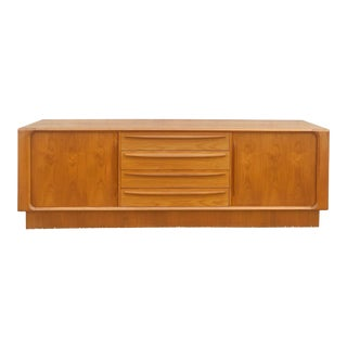 Danish Modern Lowboy Dresser With Tambour Doors For Sale