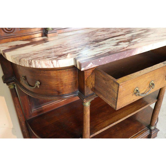 20th Century Italian Empire Style Oak Console Table With Columns and Marble Top For Sale - Image 4 of 12