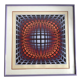 "Victor Vasarely ""Duran II""Artist Proof Signed and Framed Lithograph For Sale"