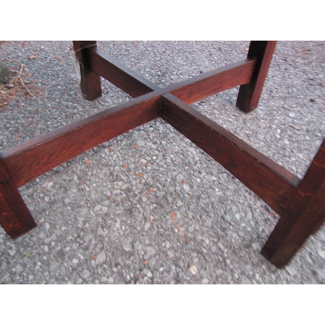 1900s Mission L&jG Stickley Round Leather Top Center Table For Sale - Image 10 of 13