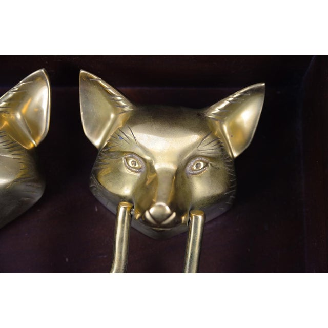 Asian Vintage Bronze Fox Heads Door Knockers- A Pair For Sale - Image 3 of 11