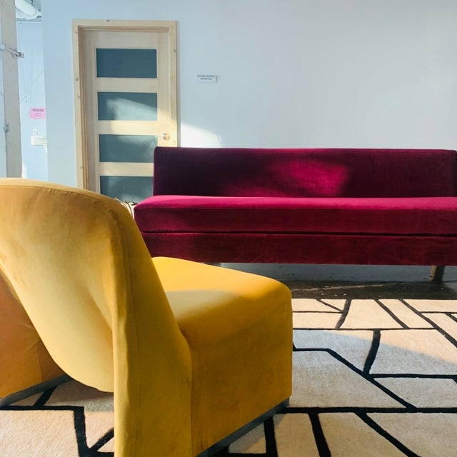 """Textile 1970s Giancarlo Piretti """"Alky"""" Chair in Goldenrod Velvet For Sale - Image 7 of 12"""
