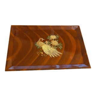 Vintage 1960's Couroc Bakelite Asian Modern Peacock Tray For Sale