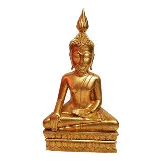60s Hand Carved Gilt Wood Thai Buddha For Sale