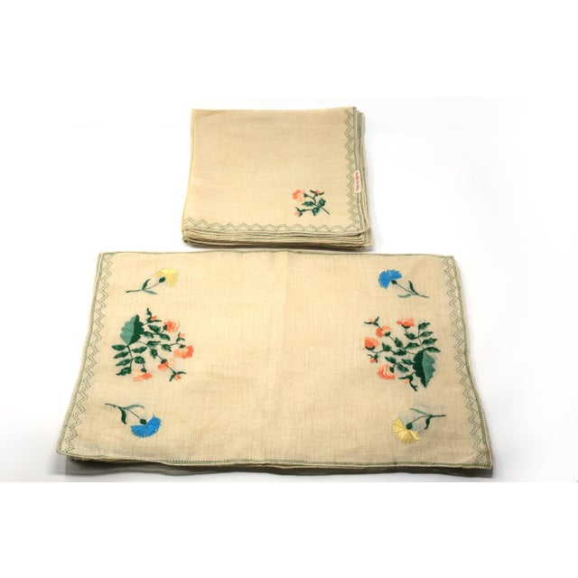 "A vintage set of embroidered Italian linen placemats (7) and napkins (9). Excellent condition. placemats: 16 1/2"" x 11..."