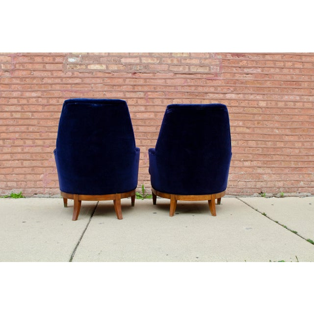 Art Deco 1960s Art Deco Blue Mohair Velvet Armchairs - a Pair For Sale - Image 3 of 13