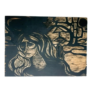 Late 20th Century Double Sided Dramatic Scene Woodcut Printing Block For Sale
