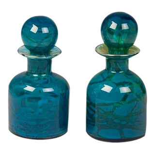 A Pair of Vintage Hand Blown Blue and Green Glass Decanters Circa 1970 For Sale
