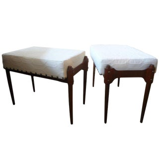 1960's Vintage Italian Gio Ponti Inspired Upholstered Benches-A Pair For Sale