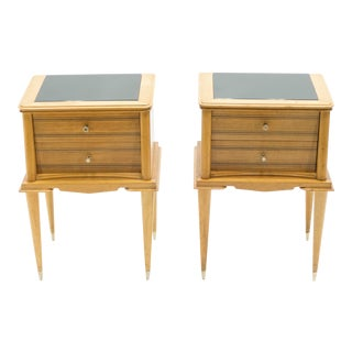 1950s French Sycamore Drawer Nightstands Attributed to Suzanne Guiguichon - a Pair For Sale