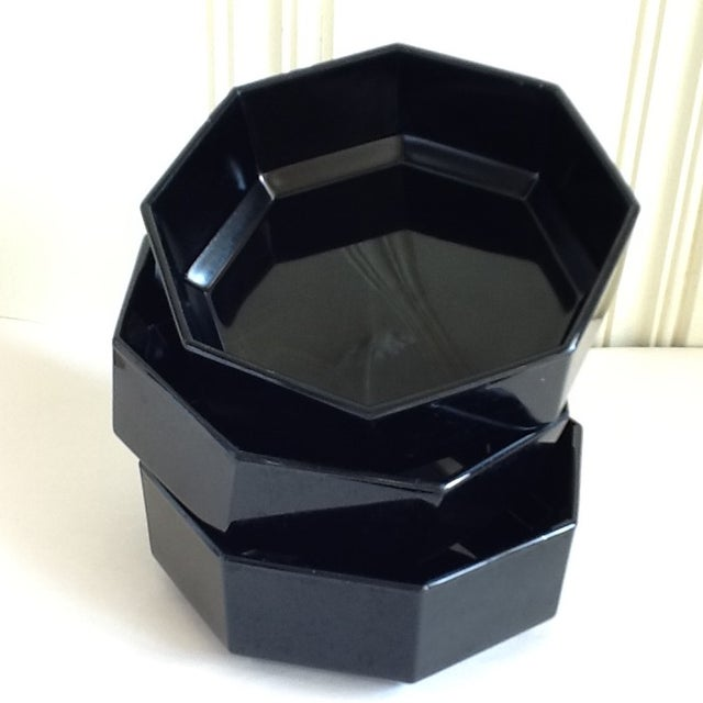 Ebony ceramic octagonal bowls, made in France. Beautifully simplistic and elegant.