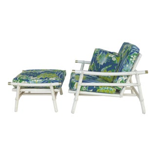 John Risner Ficks Reed Rattan Lounge Chair & Ottoman - Set of 2 For Sale