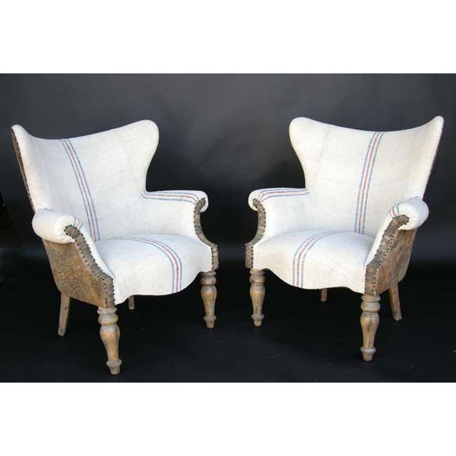 Custom Lambskin and Vintage Linen Chairs - Image 2 of 8
