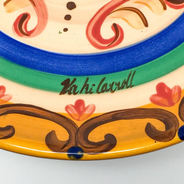 """Ceramic Vicki Carroll """"Sil Vous Plait"""" Footed Cake Plate For Sale - Image 7 of 13"""