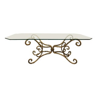 Baroque Style Metal Scroll Base Glass Coffee Table For Sale