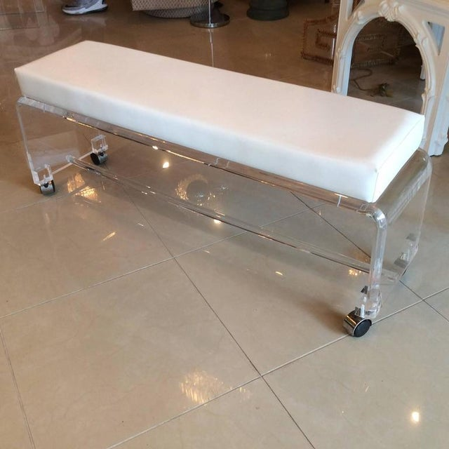 Lucite White Leather Waterfall End of Bed Bench Seat - Image 9 of 10