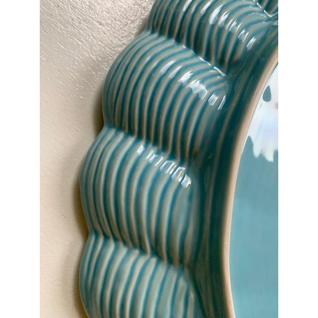 Ceramic Modern Vintage Sadek by Andrea Blue & Antique White Ceramic Oyster Shell Serving Platter For Sale - Image 7 of 9