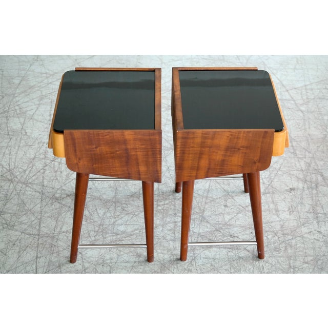 Pair of Danish Midcentury Nightstands in Teak and Elm With Black Glass Top For Sale - Image 10 of 11