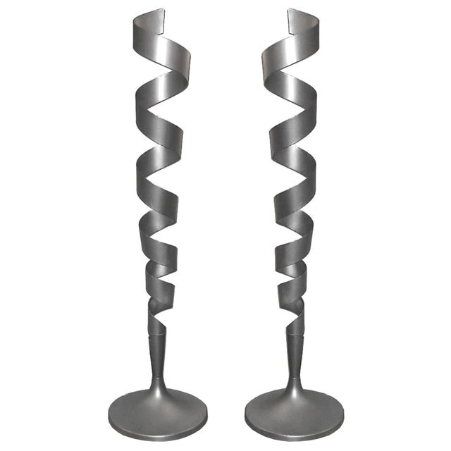1980s Spiral Floor Lamps - a Pair For Sale - Image 5 of 5