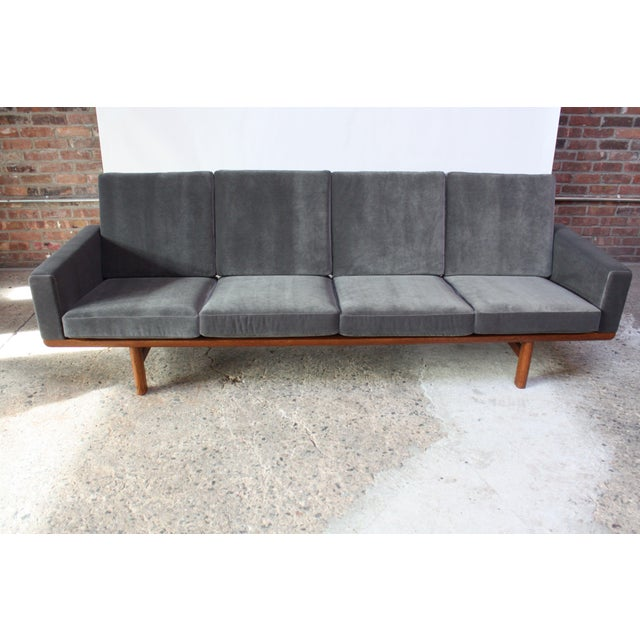 Hans Wegner for GETAMA Sofa in Oak and Velvet - Image 2 of 12