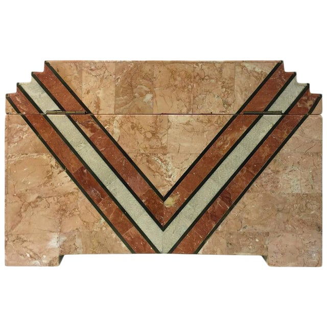 ART DECO INSPIRED BOX IN TESSELLATED MARBLE BY MAITLAND-SMITH For Sale