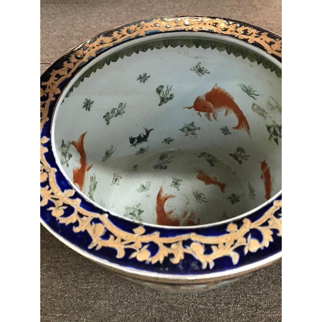 Chinese 19th Century Chinese Cobalt Porcelain Fishbowl For Sale - Image 3 of 6
