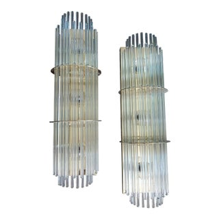 Glass Rod Wall Sconces Attributed to Sciolari for Lightolier - A Pair For Sale