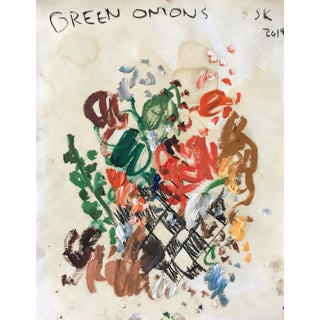 'Green Onions' Abstract Oil Painting by Sean Kratzert For Sale