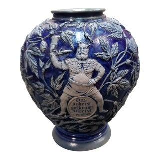 Circa 1870 German Westerwald Salt Glazed Stoneware Vase For Sale