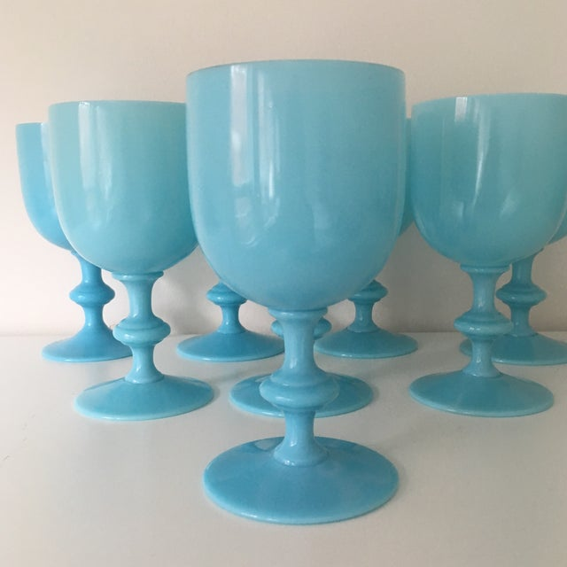 Beautiful Antique Water Goblets, Set of 8, by Portieux Vallerysthal in a Turquoise Blue Opaline. Generous in size holding...