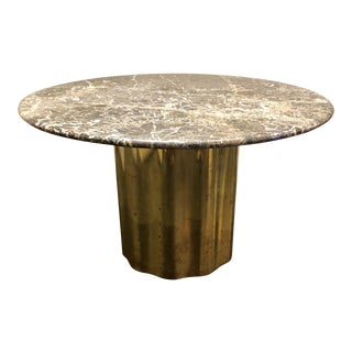 Italian Marble Table / Brass Base Table For Sale