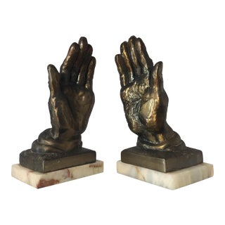 Metal & Marble Hand Bookends - A Pair For Sale
