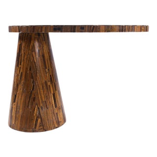 Contemporary Golden Tiger Eye Cantilever Side Table For Sale