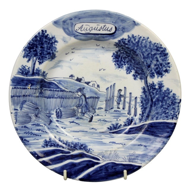 18th Century Collection of Delft Blue and White Month Plates - Set of 14 For Sale - Image 5 of 13