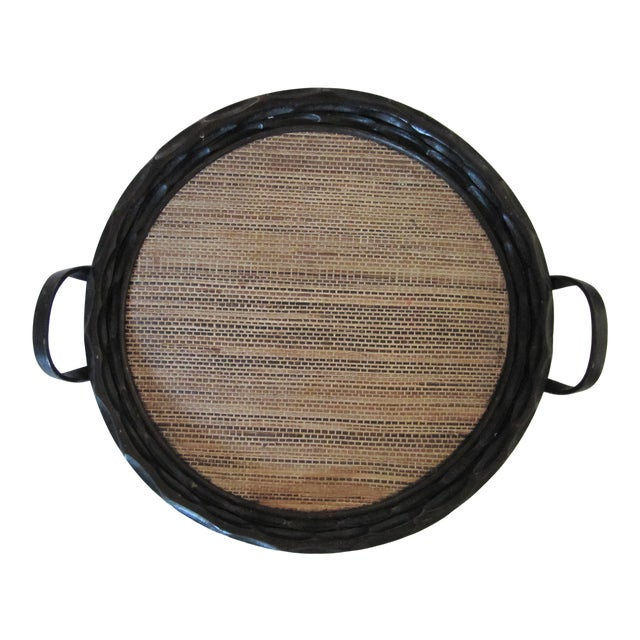 Extra-Large Palecek Carved Wood Tray With Grass Cloth Insert For Sale