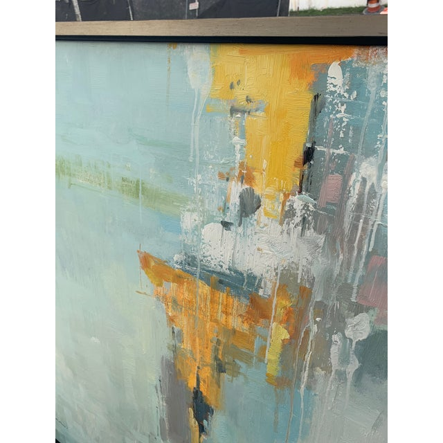 Original Abstract Oil on Canvas in Floating Silver Gilt Frame For Sale - Image 10 of 12