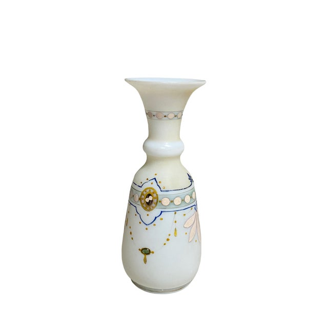 French Antique French Opaline Hand Painted Vase For Sale - Image 3 of 6