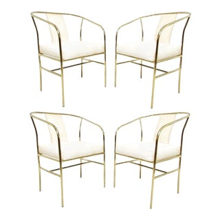 Brass Armchairs by Milo Baughman for Thayer Coggin - Set of 4 For Sale