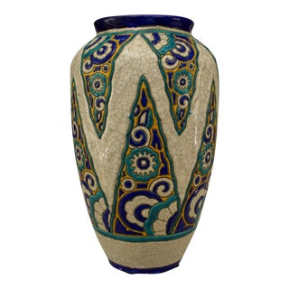 Art Deco (Belgium) Crackled Earthenware Vase For Sale
