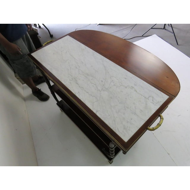Brown Directoire Style Marble Top Mahogany Drop Leaf Server Table For Sale - Image 8 of 8
